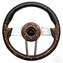 "Steering Wheel, Aviator 4 Woodgrain Grip/Brushed Aluminum Spokes 13"" Diameter"