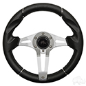 "Steering Wheel, Challenger Black Grip/Brushed Aluminum Spokes 13"" Diameter"