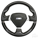 "Steering Wheel, Bonneville Carbon Fiber Grip/Brushed Aluminum Spokes 13"" Diameter"