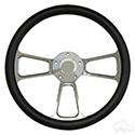 "Steering Wheel, Half Wrap Black/Billet Aluminum 14"" Diameter"