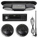 Kit, Carbon Fiber Console w/ Pyle Stereo, Black Speakers & Antenna