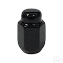 Lug Nut, Gloss Black Closed End Metric 12mm-1.25, OD 3/4""